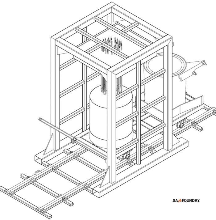Automatyczna stacja elektryczna do wstępnego podgrzewania i suszenia kadzi odlewniczych