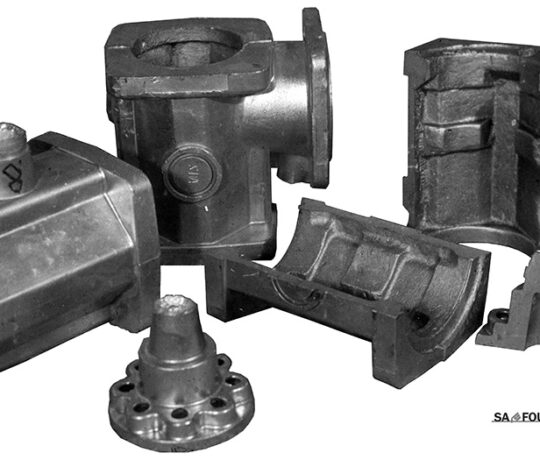 Castings of mining pump body obtained by casting under low pressure gravity casting into a metal die with a sand core