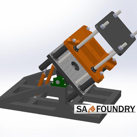Общий вид специализированной наклоняемой кокильной машины SA-Foundry sp. z o.o. для литья алюминиевых дисков