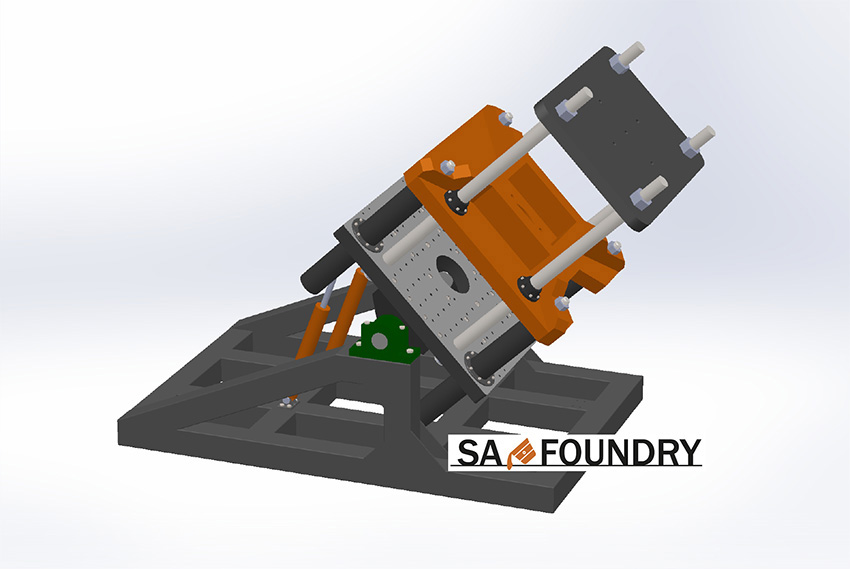 General view of the specialized tilting gravity die casting machine SA-Foundry sp. z o.o. for casting aluminum wheels